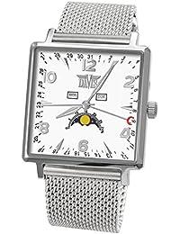 Davis 1731MB - Montre Phase de Lune Homme Carré Triple Date Cadran Blanc Bracelet Mesh maille Milanaise