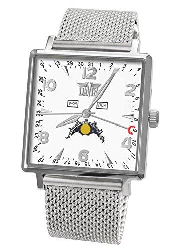 Davis 1731MB-Klassische Herrenuhr Quadratisch-Dreifach-Kalender Mondphase-Weißes Ziffernblatt-Armband Mesh
