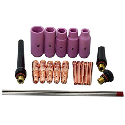 WIG Spannhülsengehäuse WIG Zurück Cap und 2% Thorium WIG Wolfram Elektroden Kit für DB SR WP 17 18 26 WIG-Schweißbrenner 22pcs (Kit Tool Diamondback)