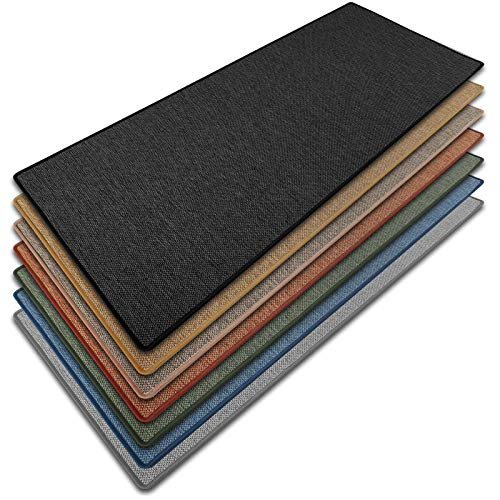 Teppich Läufer Sabang | Sisaloptik | Qualitätsprodukt aus Deutschland | GUT Siegel | kombinierbar mit Stufenmatten | viele Größen (Anthrazit, 80x250 cm) Küchenläufer Flurläufer Teppichläufer