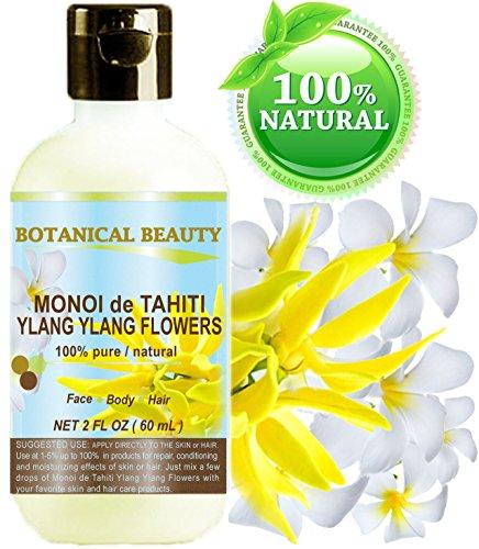 Monoï Huile de Tahiti Ylang Ylang Fleurs 100% naturelle / 100% pures plantes - 60 ml. Pour la peau, des cheveux et des ongles.