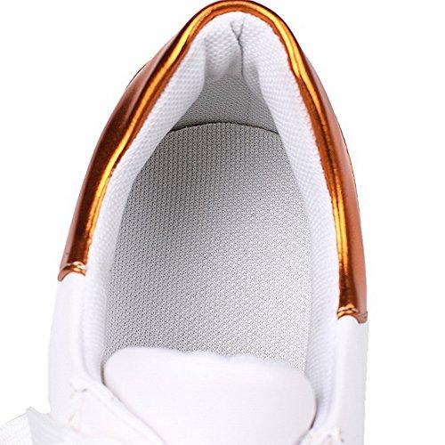 AgooLar Femme Lacet Rond à Talon Correct Microfibre Couleurs Mélangées Chaussures Légeres Doré