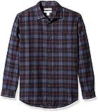 Amazon essentials Herren Regular-Fit Langarm kariertes Flanellhemd, Blau (Blue/Black Plaid), Medium