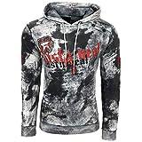 Rusty Neal Herren Sweatshirt Batik Hoody Verwaschen Oil Washed Used Kapuzenpullover 113, Größe:XL, Farbe:Grau