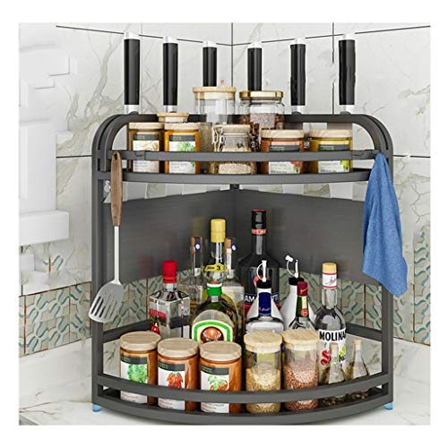 Mgee portaspezie, organizzatore di stoccaggio condimento indipendente in acciaio inox a 2 strati portabottiglie in scatola piani cucina casa bagno forniture