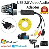 xcluma Easier Cap USB 2.0 Capture Card Video TV DVD VHS Audio Capture Card 3 in 1 VHS to DVD Adapter Converter PC PS3 Xbox for Win 7 8 10