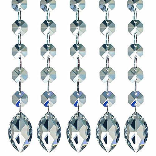 H & D Kristall Kronleuchter klar Anhänger Prismen Tropfen Suncatcher mit Octagon Perlen Fenster hängende dekoration Ornament,38 mm Pferdauge Tropfen -