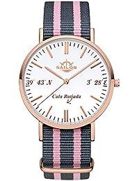 Sailor de mujer reloj de pulsera Limited Edition, Model: Cala Ratjada en rosègold/blanco con nylon pulsera | Reloj de cuarzo con indicador analógico | Exclusives Mallorca Accessories4men 2017
