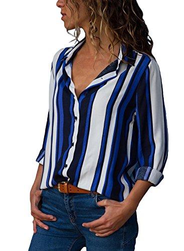 Aleumdr Mujer Blusa de Oficina Camisa Básica de Rayas Camiseta Suelta con botón Azul-Blanco Size XL