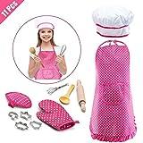 Lehoo Castle Set de Cocina y horneado para niños, 11 Piezas, Vestido de Chef para niñas, Incluye Delantal para niñas pequeñas, Gorro de Chef, manopla y Utensilios, Juego de Cocina para niños