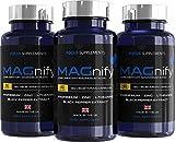 MAGnify Magnesium-Mischung - 5-in-1 Nahrungsergänzungsmittel mit Magnesiumglycinat, Magnesiumtaurat, L-Theanin, Zink und Schwarzem Pfefferextrakt zur Besseren Aufnahme - 120 Vegetarische Kapseln