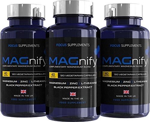 MAGnify Magnesium, hochdosierte Kapseln | 5-in-1 Komplex | Nahrungsergänzungsmittel mit Magnesiumglycinat, Magnesiumtaurat, L-Theanin, Zink und schwarzem Pfefferextrakt | 120 vegetarische Kapseln -