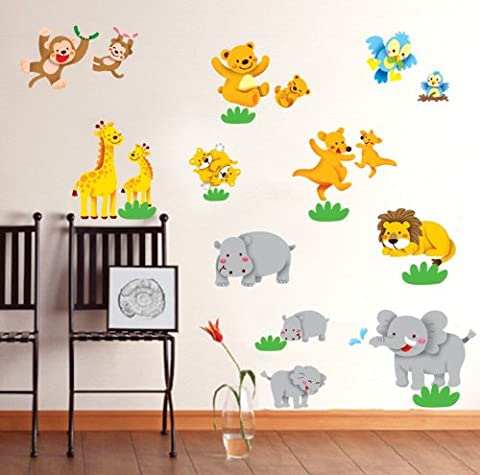 Wall Stickers Art Zoo Animals Tiger Bear Monkey Elephant Large