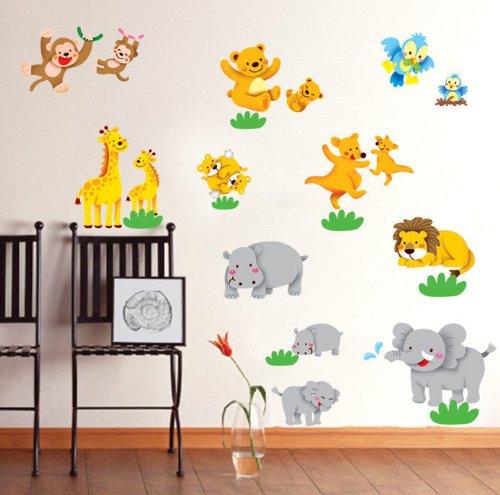 Preisvergleich Produktbild Wandaufkleber Motiv Affe Großer Elefant Zootieren Tiger Kunstdruck Kinderzimmer Dekoration