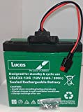 12V 22AH Lucas 18 Holes AGM/GEL Golf Trolley Battery Powakaddy Connector & T-BAR by Lucas