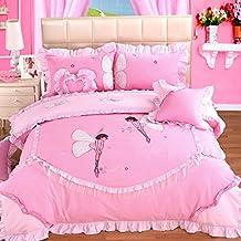 Rosa bordado decorativo de rollo de tul 4conjuntos de ropa de cama para niñas Queen Edredón de algodón de tamaño de cama falda funda de almohada
