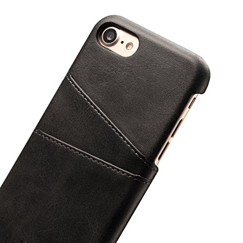 Case per iPhone 6 Card ,Cover per iPhone 6, Bonice Vintage Synthetic Leather Wallet Ultra Slim Professional Executive Snap On Cover with 2 Card Holder Slots Case Cover per iPhone 6/6S (4.7 pollici) +  Nero