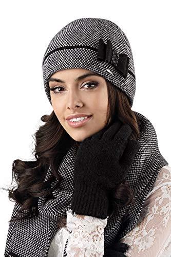 Kamea - Winterset Bologna - Mütze mit passendem Schal - verschiedene Farbauswahl, Winter Set:Schwarz
