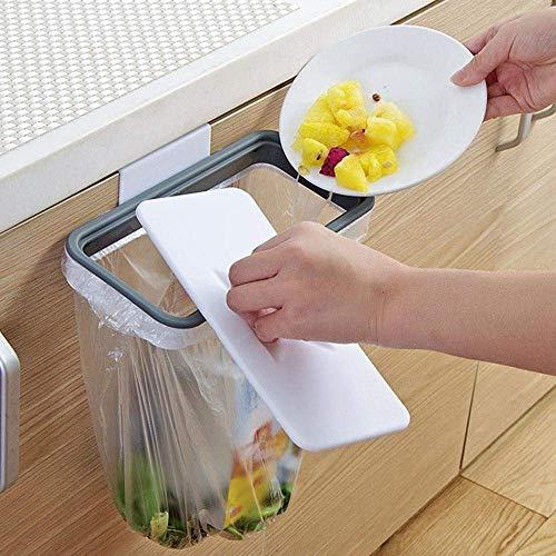 LuuBoes Hängender Müllbeutelhalter mit Deckel, zum Aufhängen von Mülltüten für Küche, Schrank, Müll, Aufbewahrungsregal (Küche Mülleimer Groß Schritt)