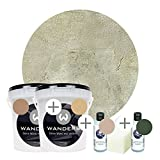 Wanders24 Venezia Stein-Optik (2 Liter, Verde Komplettset) Farbe zum Spachteln, 4 Sets erhältlich, Italien für Zuhause, Strukturpaste Made in Germany