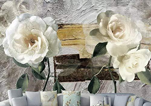 JJXBBL 3d wallpaper Benutzerdefinierte retro Ölgemälde Blume Gardenia TV Hintergrund Wand Dekoration Wohnzimmer Wandbilder-450cmX300cm - Elegante Gardenia