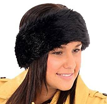 New In Season Womens Elasticated Fur Headband Available In Variety Of Winter Colours Black Fur