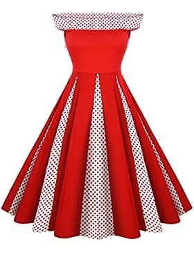 GAOLIM Las Mujeres Visten Una Pieza Collar Punto Onda Hit Vestido De Color, M, Rojo