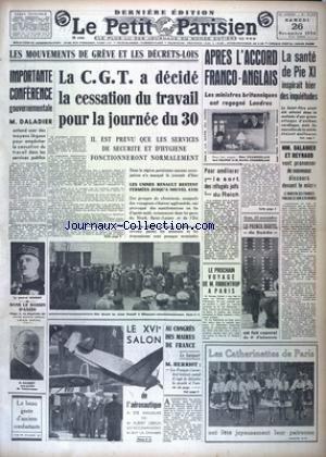 PETIT PARISIEN DERNIERE (LE) [No 22550] du 26/11/1938