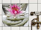 creatisto Dekofliesen, Badezimmerfliesen | Fliesensticker Aufkleber Folie Bad Küche Kühlschranksticker Baddeko | 15x20 cm Design Motiv Flower Buddha - 6 Stück