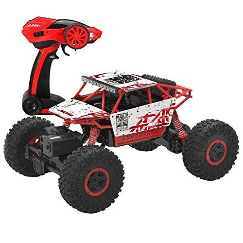 deAO RC Auto Fuoristrada Rock Crawler 4x4 Radiocomandati 1:18 4WD 2.4GHz SYNC System per modalità Multi Giocatore (Rosso)
