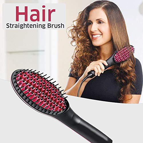 Buyerzone Electric Hair Straightener with Temperature Control and Digital Display Brush for Women