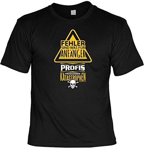 Cooles witziges Fun T-Shirt im Set mit MiniShirt - Fehler sind was für Anfänger - für Damen Herren Farbe schwarz Schwarz