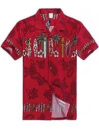 8822fd47b Hombres Aloha camisa hawaiana en Tabla de surf Cruz en Rojo