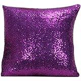 Hosaire Hosaire Fundas De Cojines, Funda de almohada del brillo del color sólido (Violeta)