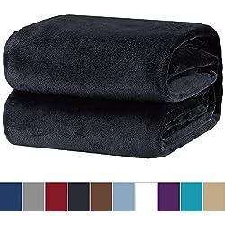 Fleecedecke Kuscheldecke 150x200cm Anthrazit, hochwertige Mikrofaser Flanell Decke für Sofa & Sessel, super weiche warme Flauschige Wohndecke/Reisedecke/Schmusedecke von Bedsure