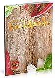 Dékokind Leeres Kochbuch: Für über 80 Lieblingsrezepte || Ca. A5 Softcover || Rezeptbuch zum Selbstgestalten / Selberschreiben mit Inhaltsverzeichnis || Motiv: Rote Chilis