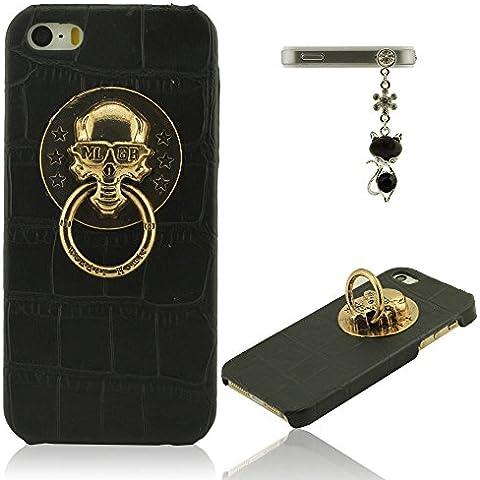 Funda iPhone 5, Funda iPhone SE, Funda iPhone 5S, Carcasa para iPhone 5 / 5S / SE - Negro, Animal Piel Grano Apariencia, Metal Anillo Diseño Poseedor Función, Cráneo Cabeza Apariencia, Rígido Duro Cáscara Protector + Bonita Colgante
