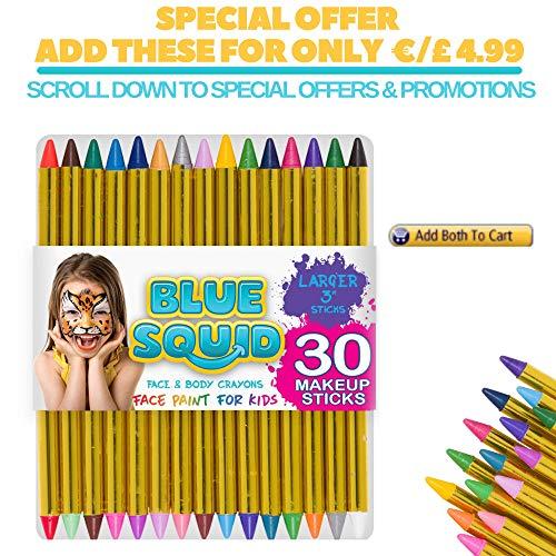 Blue Squid Kinderschminke Face Paint Set 12 Farben Schminkpalette, Professionellemit Hochwertiges mit Kinder Schminkset Ideal für Kinder Partys & Fasching, großer Auswahl an Schminkfarben Schablonen