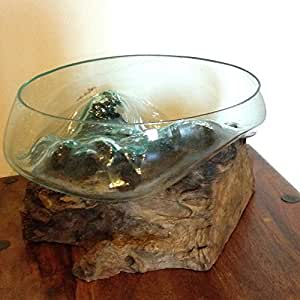 Teak Tree Root With Recycled Glass Fruit Bowl. Large. Fair ...