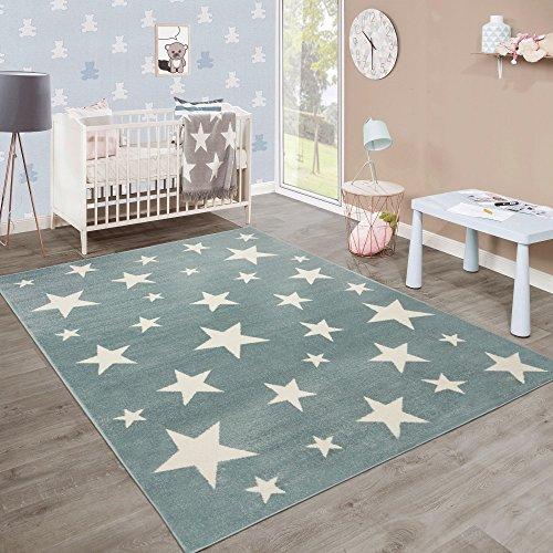 Moderner Kurzflor Kinderteppich Sternendesign Kinderzimmer Pastell Türkis Weiß, Grösse:160x220 cm