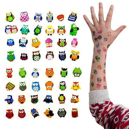 Preisvergleich Produktbild Oblique-Unique® Eulen Tattoo Set 96 Stück Kindertattoos Tattoo verschiedene Motive Kinder Spielen