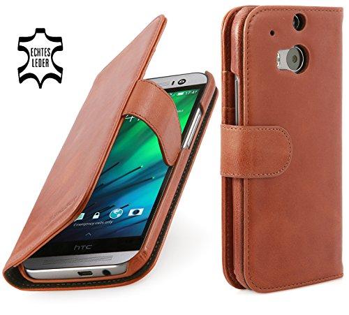 StilGut Talis Schutz-Hülle für HTC One M8 mit Kreditkarten-Fächern aus echtem Leder. Seitlich aufklappbares Flip Case in Handarbeit gefertigt für HTC One M8,