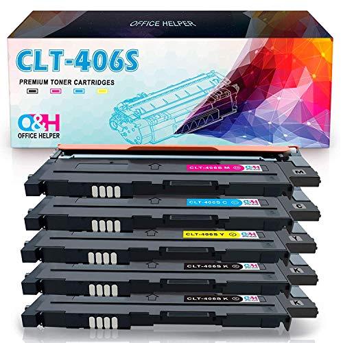 OFFICE HELPER CLT-P406C Toner Tonerkartuschen Kompatibel für Samsung Printer Xpress CLP-360 CLP-360N CLP-365 CLP-365W CLP-368 CLX-3300 CLX-3305 CLX-3305FN CLX-3305N CLX-3305W CLX-3305FW C410W C460W