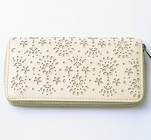 Vuoti Floreale Donne Borsa Lunga PU Cerniera Frizione Portafoglio Clutch beige