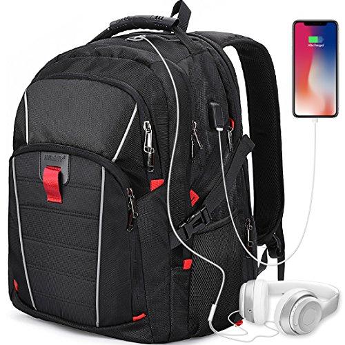 Laptop Rucksack Herren Schulrucksack 17.3 Zoll USB Port Laptoptasche Wasserdicht Männer Rucksäcke Business Travel Backpack Daypack Schwarz