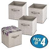 mDesign Storage box in tessuto – Set da 4 – Cestino portaoggetti con comodi manici – Ideale come organizer armadio o come portagiochi – Colore: grigio