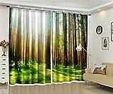 Liya Wärmeisolierte Verdunkelungs-Vorhänge, 3D Sonnenlicht in der Bush-Energieeinsparung und Noise Reducting für Wohnzimmer-Bettwäsche-Raum-Büro drapiert, 142 * 98 inch