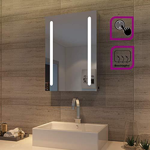 sunnyshowers LED Spiegelschrank Badzimmer Spiegel Hochglanz Badezimmerspiegel – Badschrank mit Beleuchtung