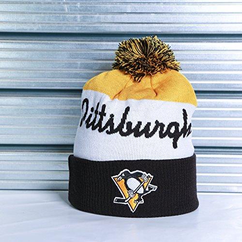 Reebok NHL Pittsburgh Penguins Script Cuff Pom Knit