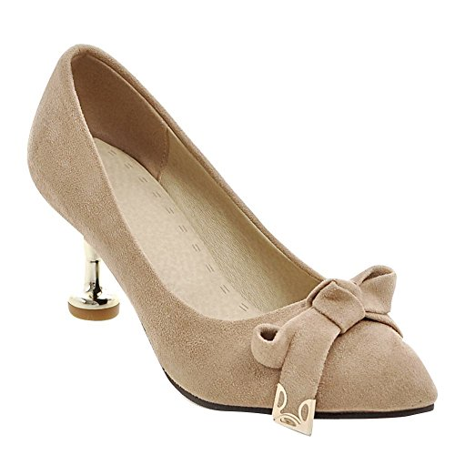 Stiletto Mee Shoes Aprikose Schleife Damen Nubukleder Pumps qAB8ZwA